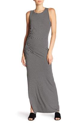 Bobeau Side Ruched Stripe Maxi Dress