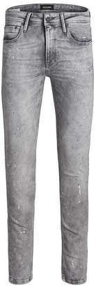 Jack and Jones Men Skinny Fit Grey Liam Jeans With Paint Splatter