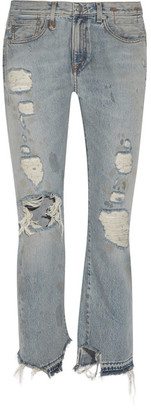 R13 - Bowie Distressed High-rise Straight-leg Jeans - Mid denim $450 thestylecure.com