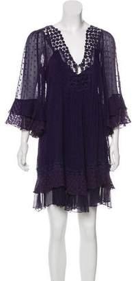 Rebecca Taylor Lace-Trimmed Silk Dress