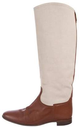 Hermes Leather-Trimmed Knee-High Boots