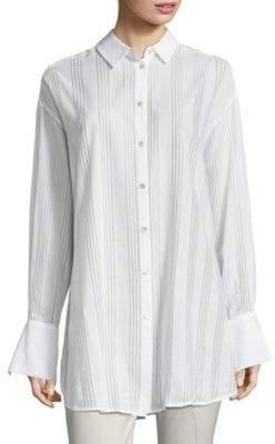Becken Oversized Cotton Voile Button-Down Shirt
