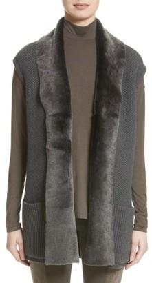Women's Lafayette 148 New York Merino & Cashmere Vest With Genuine Shearling Trim $998 thestylecure.com