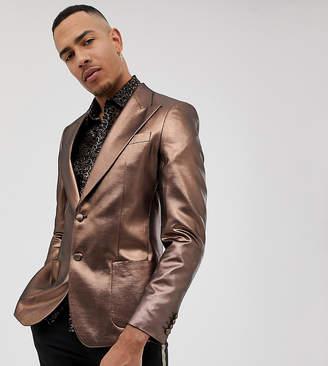 Asos Design DESIGN Tall skinny 70s metallic copper prom blazer