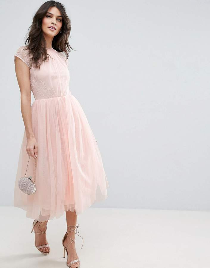 AsosASOS PREMIUM Lace Tulle Midi Prom Dress