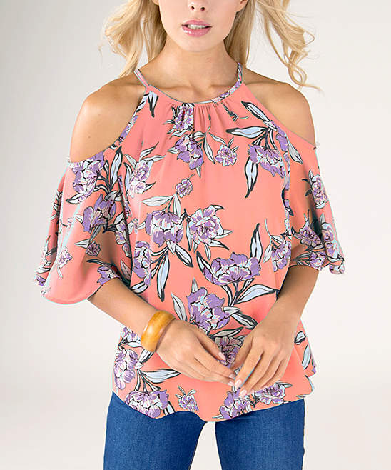 Coral Floral Ruffle Halter Top - Women