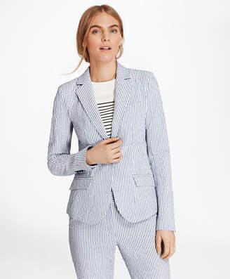 Brooks Brothers Petite Striped Stretch Cotton Seersucker Jacket