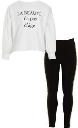River Island Girls White 'beaute' top and leggings outfit
