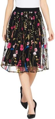 GRAVER Susan Graver Embroidered Mesh Skirt