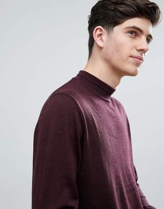 MANGO Man Turtleneck Merino Sweater In Burgundy