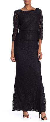 Marina Long Sleeve Lace Glitter Dress