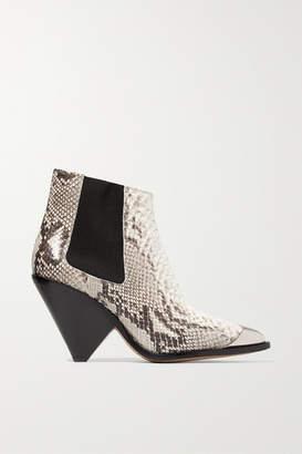 Isabel Marant Lemsey Metal-trimmed Snake-effect Leather Ankle Boots - Snake print