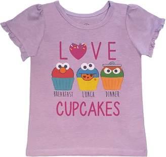 Sesame Street Little Girls Love Cupcakes Ruffle Sleeve T-Shirt