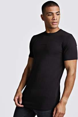 boohoo MAN Muscle Fit Biker Longline T-Shirt