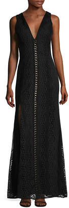 Badgley Mischka Lace Embellished Inset Gown