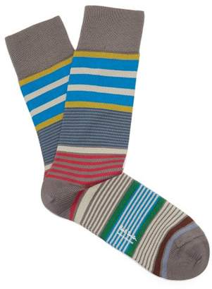 Paul Smith Rak Striped Cotton Blend Socks - Mens - Grey