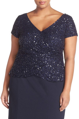 Adrianna Papell Sequin Wrap Front Top (Plus Size) $169 thestylecure.com