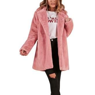 cfe5c7e3afd Rambling Womens Long Sleeve Winter Warm Lapel Fox Faux Fur Coat Jacket  Overcoat Outwear with Pockets