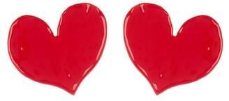 Oscar de la Renta Painted Heart Stud Earrings