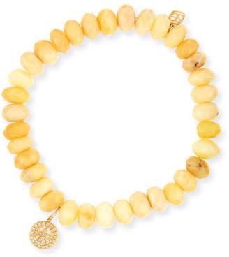 Sydney Evan Yellow Opal Bead & 14k Happy Face Charm Bracelet