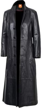 2nd Skin Men's Long Coat, Trench Coat Original Lambskin Leather Glossy Finish (XXXXL)