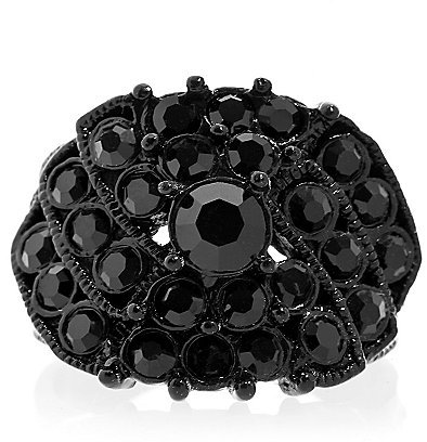 Online Exclusive - Black Crystal Ring Size 8