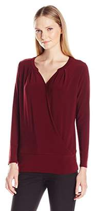 Chaus Women's Long Sleeve Banded Wrap Top with Neck Trim $19.35 thestylecure.com