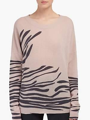 360 Sweater Molly Zebra Print Cashmere Jumper, Bisque/Black
