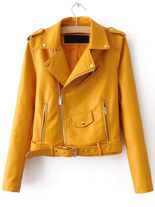 Shein Faux Leather Buckle Belt Epaulet Detail Moto Jacket