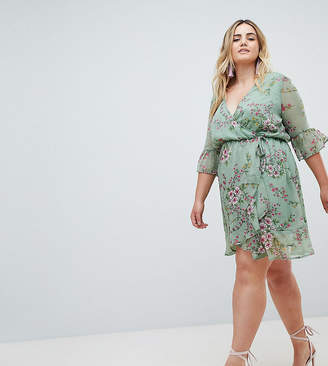 Missguided Plus Chiffon Floral Frill Sleeve Mini Dress