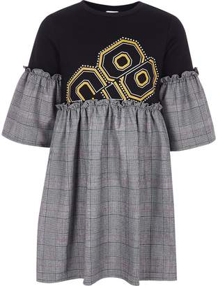 River Island Girls Black check embellished T-shirt dress