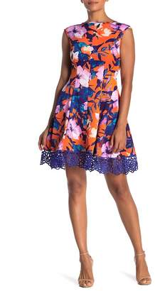 Donna Ricco Floral Fit & Flare Scuba Dress