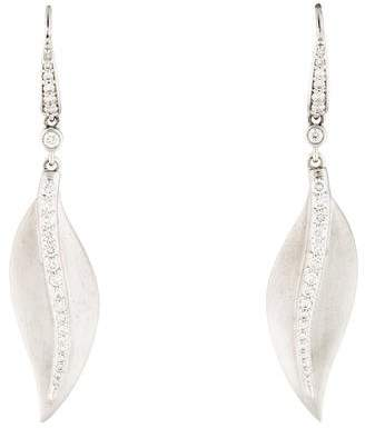 Penny Preville 18K Diamond Center Leaf Earrings