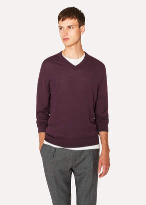 Paul Smith Men's Burgundy V-Neck Merino Wool Sweater