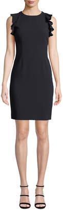 T Tahari Tania Ruffle-Shoulder Sheath Dress