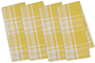 Design Imports Set Of 4 Snapdragon Kitchen Window Plaid Dish Towels