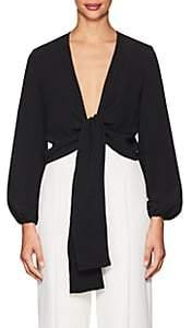 Lisa Perry Women's Crepe Wrap Top - Black