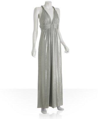 A.B.S. silver jersey beaded strap evening dress