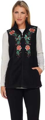 Factory Quacker Poinsettia Embroidered Zip Front Fleece Vest