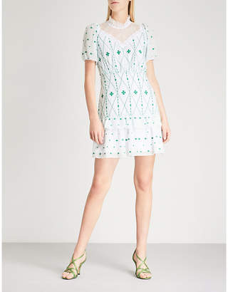 Sandro Lace-panelled embroidered crepe mini dress