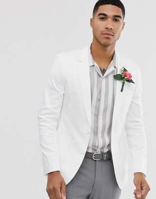 Asos Design DESIGN wedding skinny cotton blazer in white