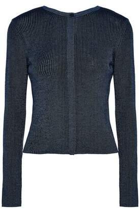 Diane von Furstenberg Metallic Ribbed-Knit Merino Wool Cardigan