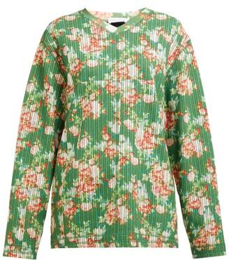 Craig Green Floral Print V Neck Striped Jacquard Sweatshirt - Womens - Green Multi