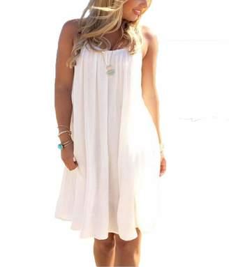Tomteamell Womens Summer Casual Beach Dress Lightweight Sundresses XL White