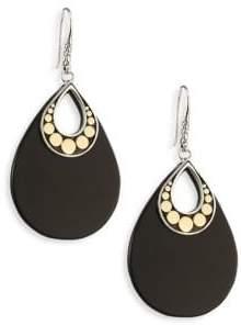 John Hardy Dot Black Onyx& 18K Yellow Gold Drop Earrings