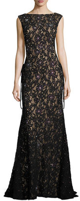 Jovani Sleeveless Embroidered Sequin Mermaid Gown, Black $650 thestylecure.com