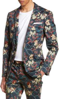 Topman Skinny Fit Japan Print Suit Jacket