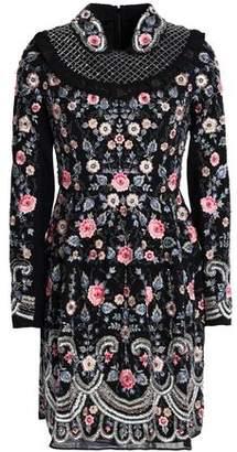 Needle & Thread Ruffle-Trimmed Embellished Chiffon Mini Dress