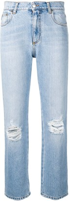 MSGM ripped straight-leg jeans