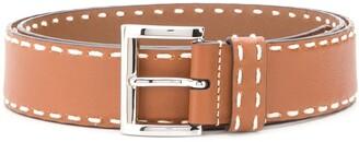 Prada contrast stitch buckle belt